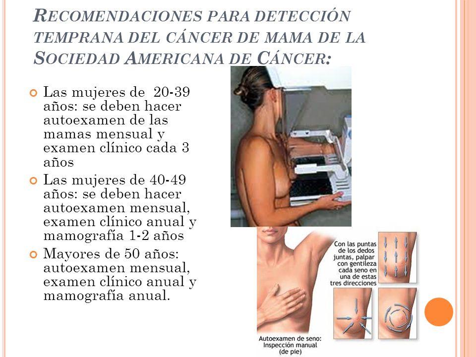 Recomendaciones para detección temprana del cáncer de mama de la Sociedad Americana de Cáncer: