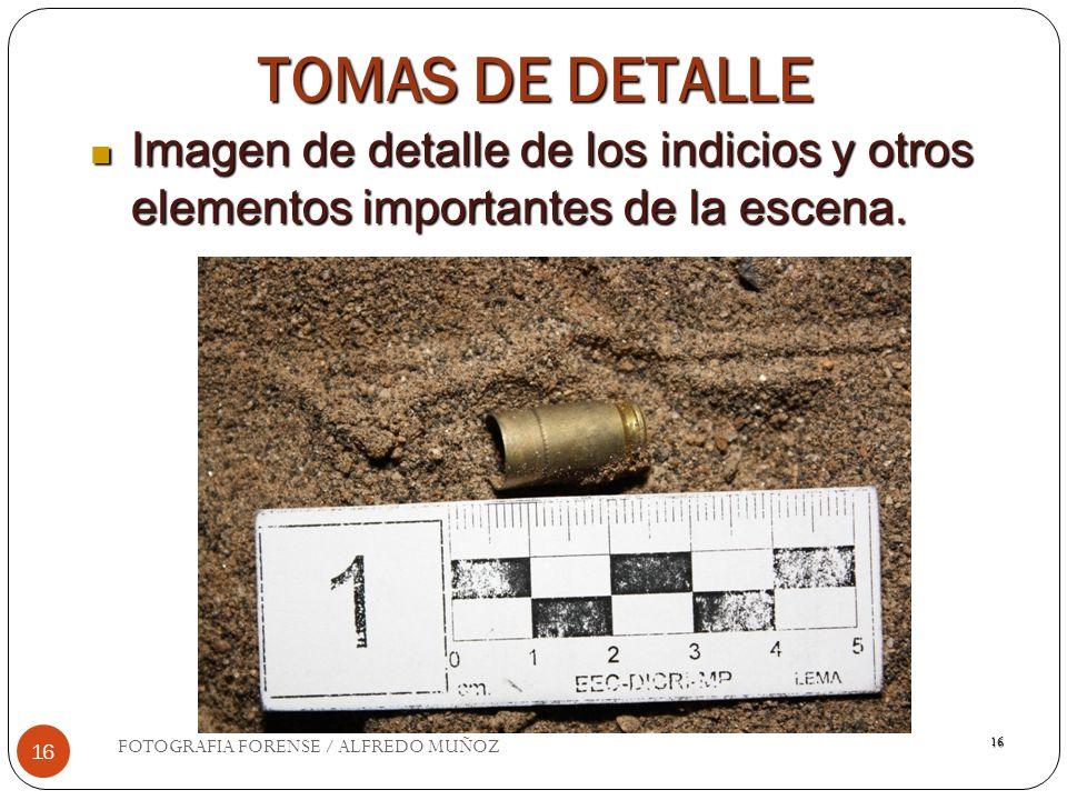 TOMAS DE DETALLE Imagen de detalle de los indicios y otros elementos importantes de la escena. FOTOGRAFIA FORENSE / ALFREDO MUÑOZ.