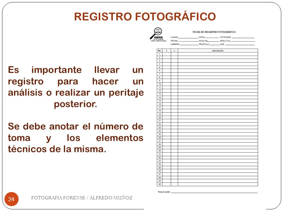 REGISTRO FOTOGRÁFICOEs importante llevar un registro para hacer un análisis o realizar un peritaje posterior.