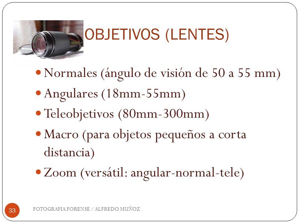 OBJETIVOS (LENTES) Normales (ángulo de visión de 50 a 55 mm)