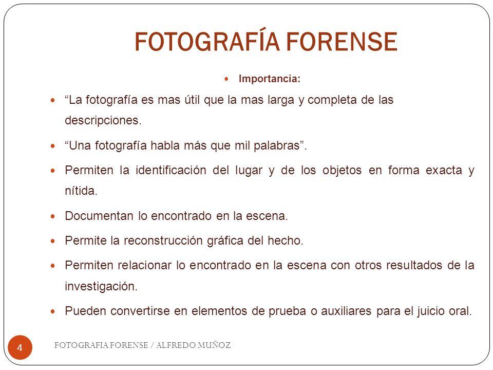 FOTOGRAFÍA FORENSE Importancia: La fotografía es mas útil que la mas larga y completa de las descripciones.