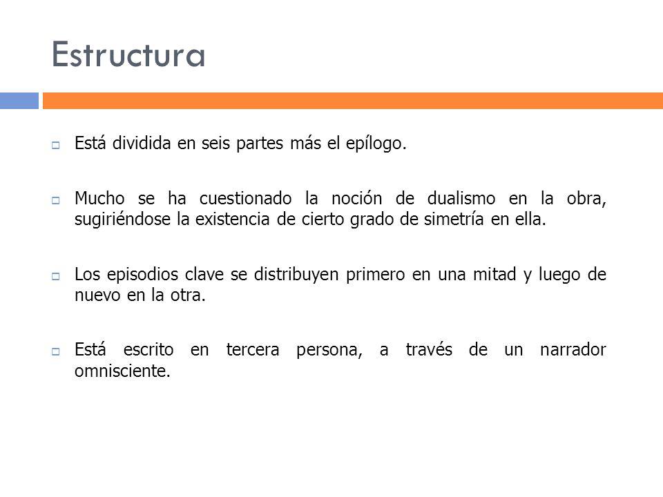Estructura Está dividida en seis partes más el epílogo.