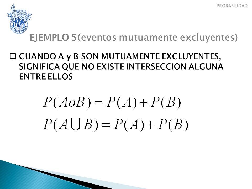 EJEMPLO 5(eventos mutuamente excluyentes)