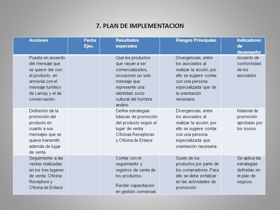 7. PLAN DE IMPLEMENTACION