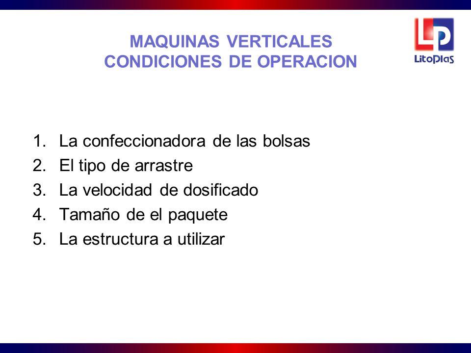MAQUINAS VERTICALES CONDICIONES DE OPERACION