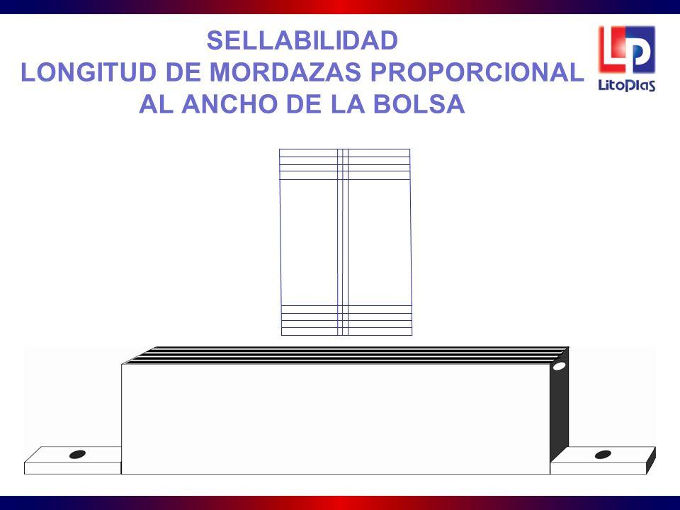 SELLABILIDAD LONGITUD DE MORDAZAS PROPORCIONAL AL ANCHO DE LA BOLSA