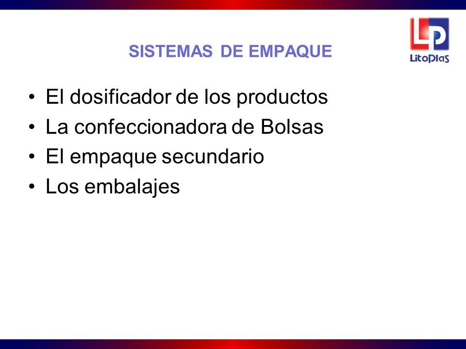 SISTEMAS DE EMPAQUE El dosificador de los productos. La confeccionadora de Bolsas. El empaque secundario.