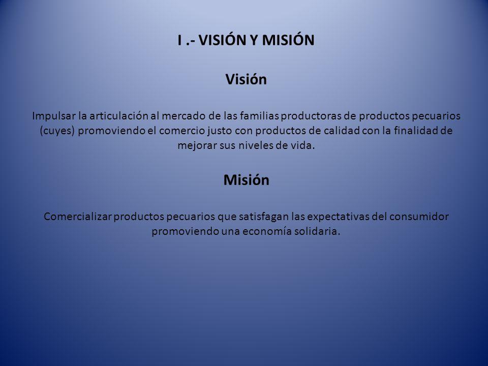 I .- VISIÓN Y MISIÓN Visión Impulsar la articulación al mercado de las familias productoras de productos pecuarios (cuyes) promoviendo el comercio justo con productos de calidad con la finalidad de mejorar sus niveles de vida.