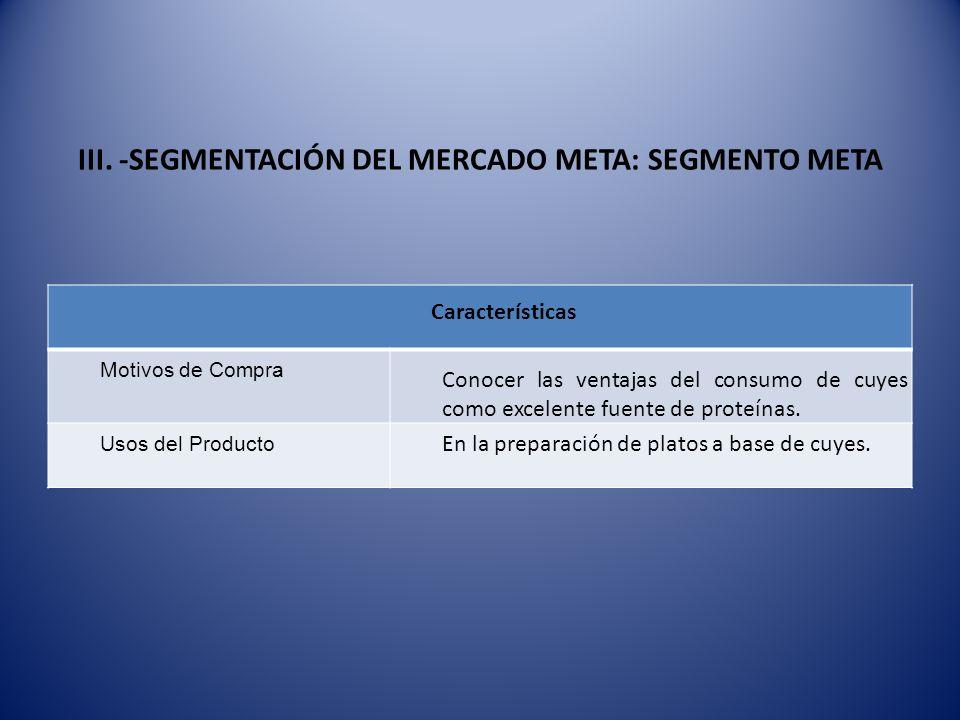 III. -SEGMENTACIÓN DEL MERCADO META: SEGMENTO META