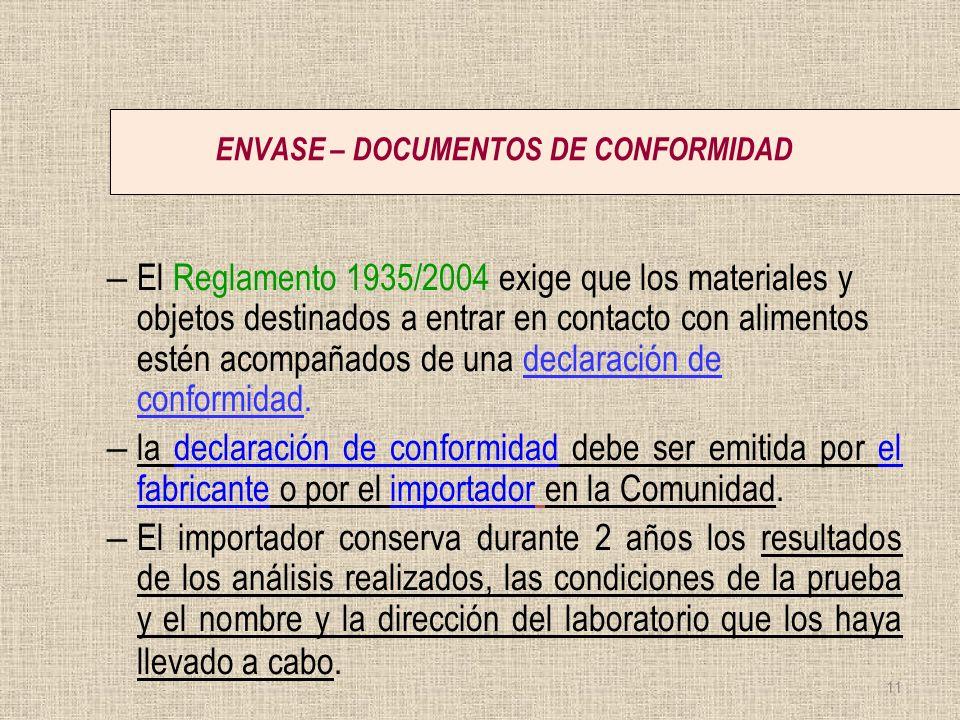 ENVASE – DOCUMENTOS DE CONFORMIDAD