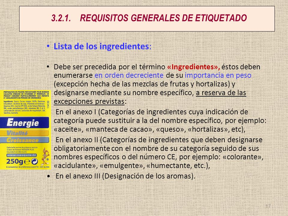 3.2.1. REQUISITOS GENERALES DE ETIQUETADO