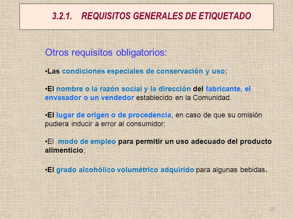 3.2.1. REQUISITOS GENERALES DE ETIQUETADO