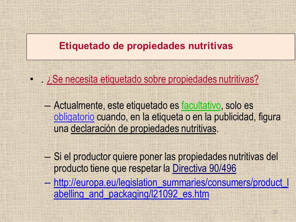 Etiquetado de propiedades nutritivas