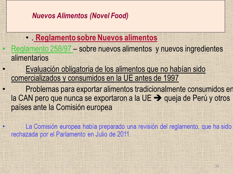 Nuevos Alimentos (Novel Food)