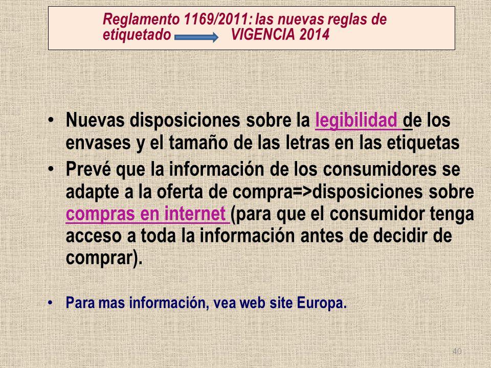 Reglamento 1169/2011: las nuevas reglas de etiquetado VIGENCIA 2014