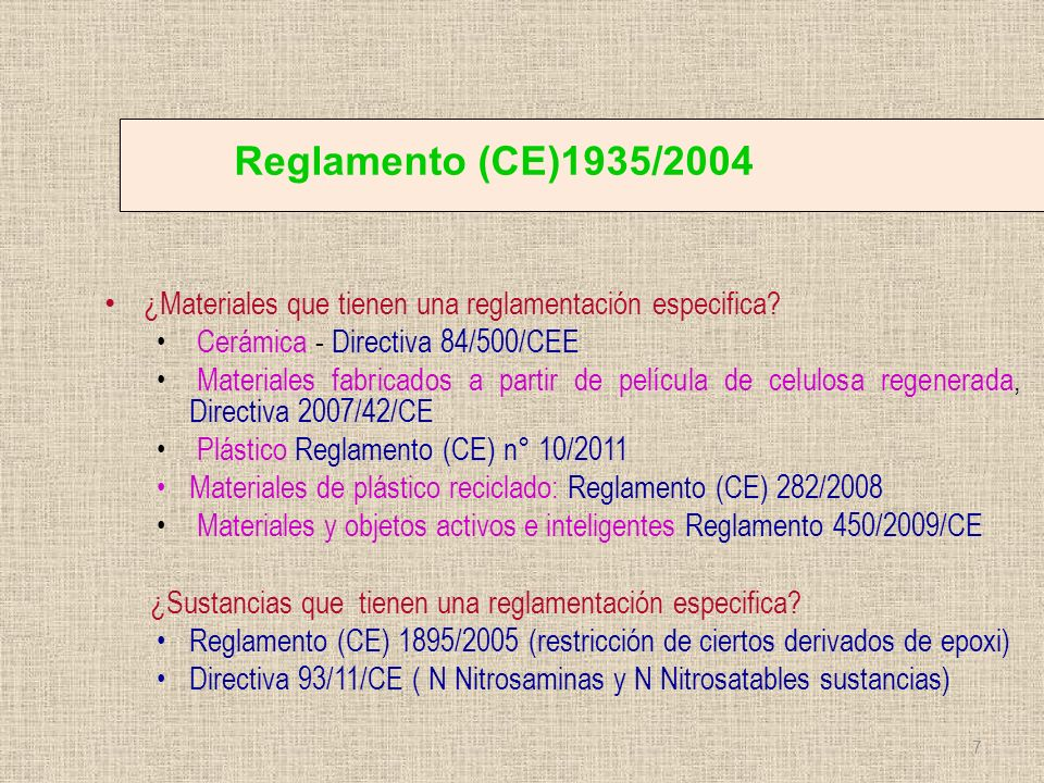 Reglamento (CE)1935/2004 ¿Materiales que tienen una reglamentación especifica Cerámica - Directiva 84/500/CEE.