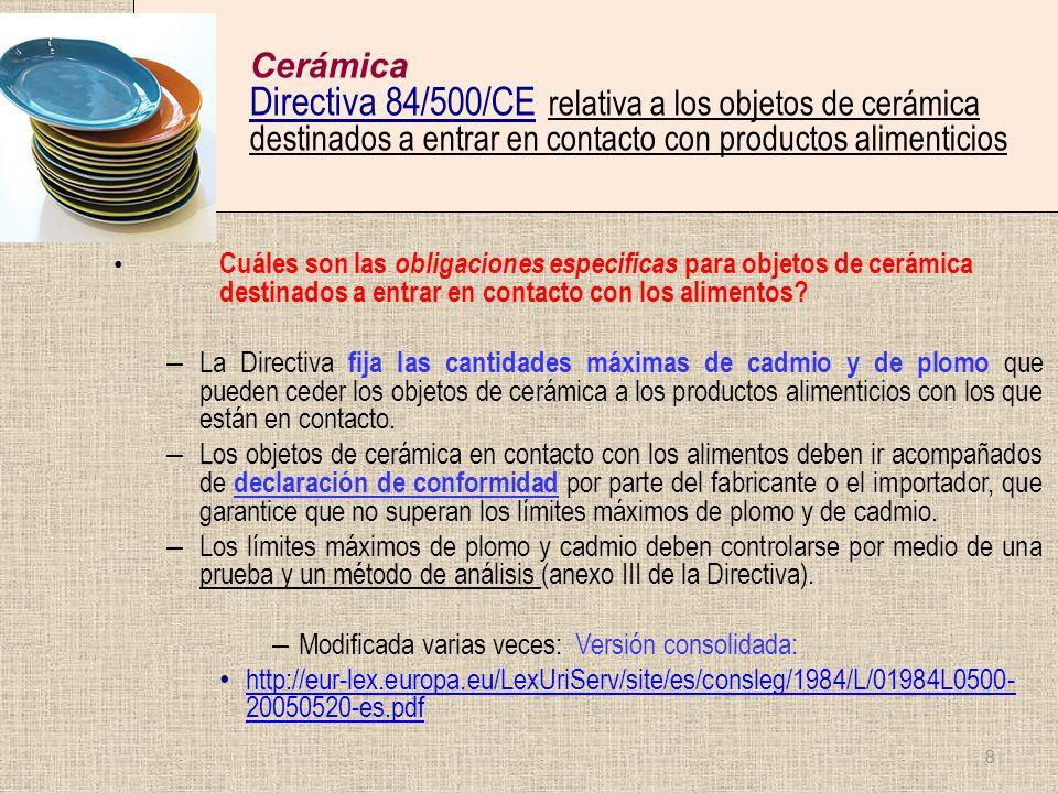 Cerámica Directiva 84/500/CE relativa a los objetos de cerámica destinados a entrar en contacto con productos alimenticios