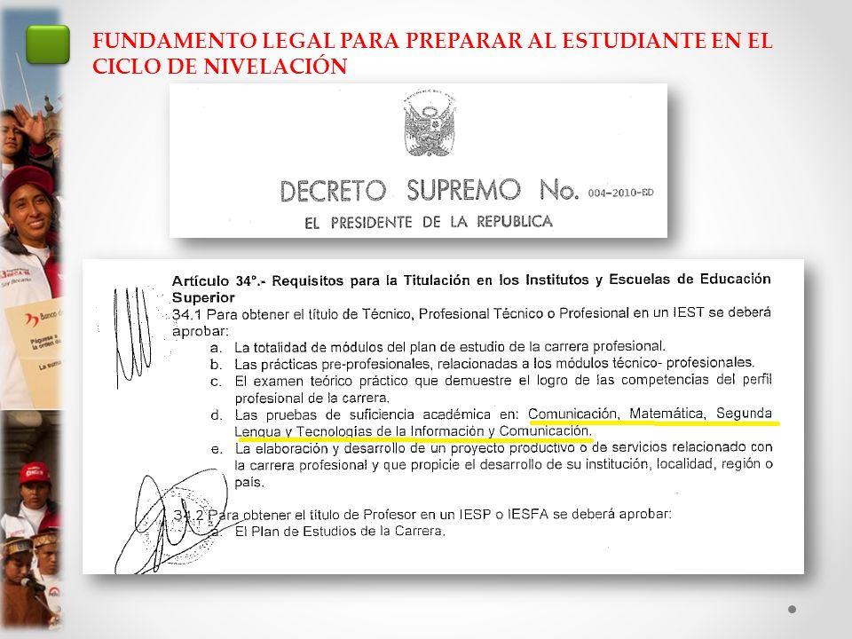 FUNDAMENTO LEGAL PARA PREPARAR AL ESTUDIANTE EN EL CICLO DE NIVELACIÓN