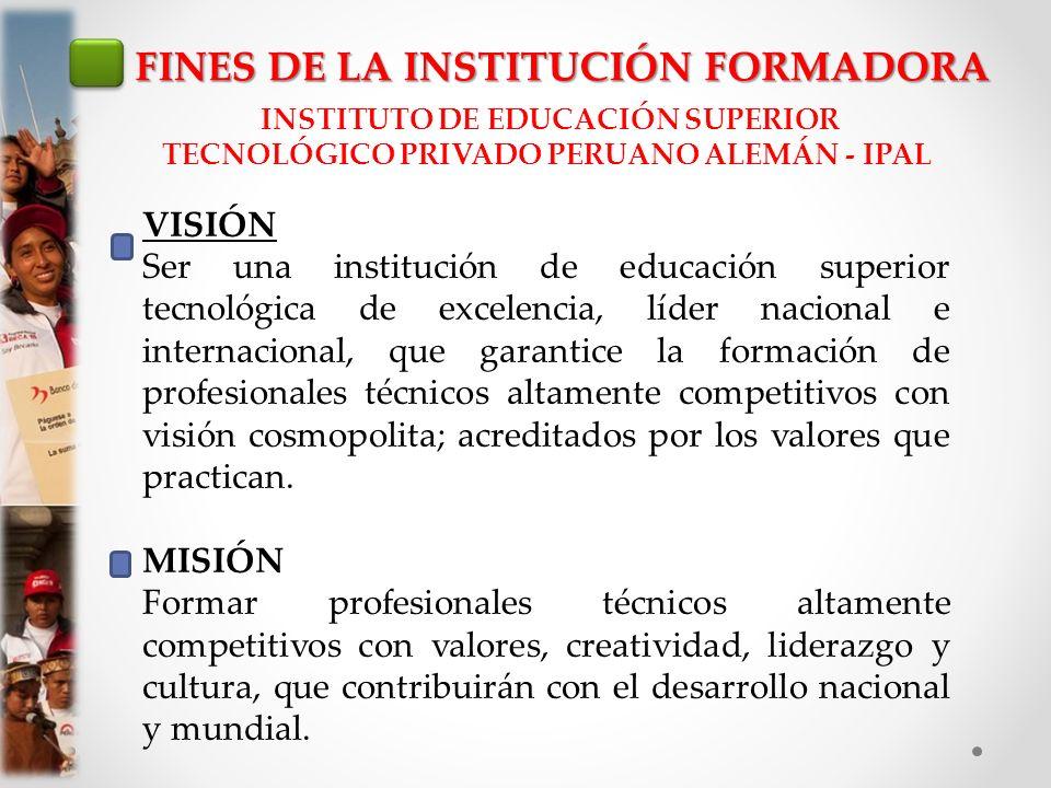 FINES DE LA INSTITUCIÓN FORMADORA