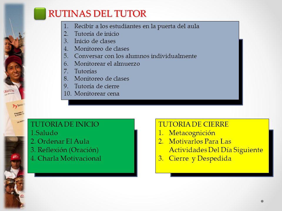 RUTINAS DEL TUTOR TUTORIA DE INICIO 1.Saludo 2. Ordenar El Aula