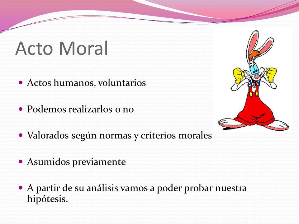 Acto Moral Actos humanos, voluntarios Podemos realizarlos o no