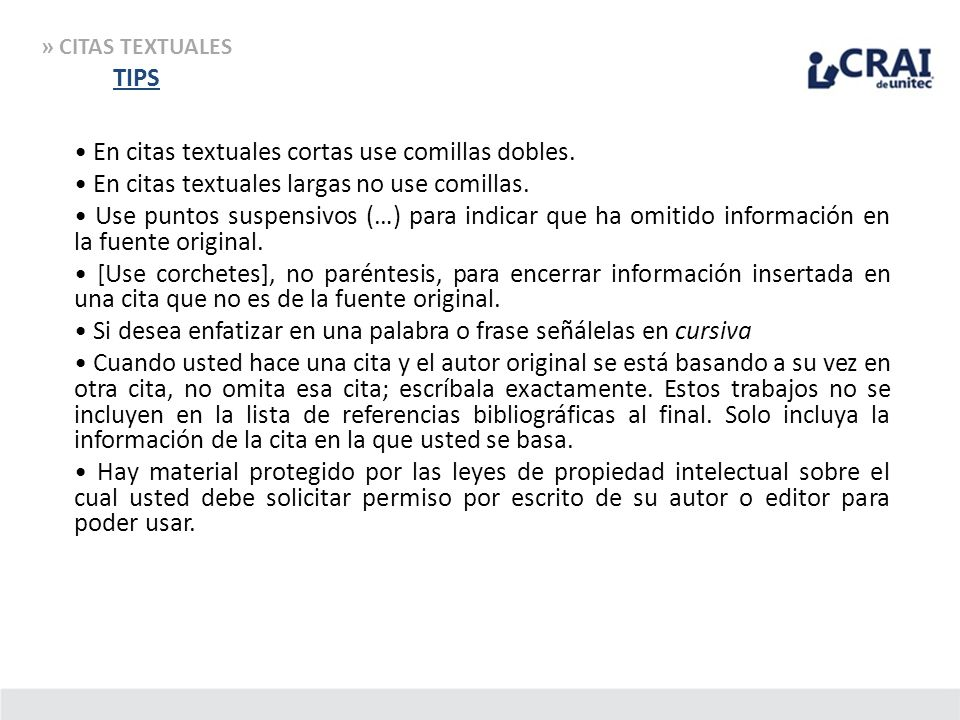 » CITAS TEXTUALES TIPS.