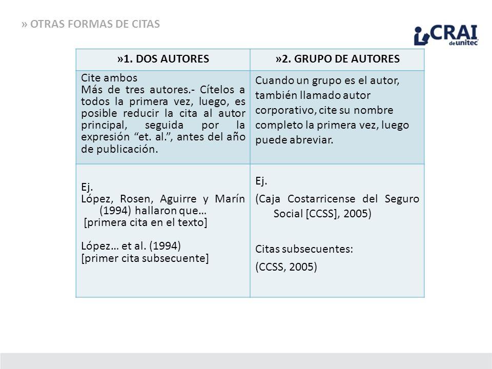 » OTRAS FORMAS DE CITAS »1. DOS AUTORES. »2. GRUPO DE AUTORES. Cite ambos.