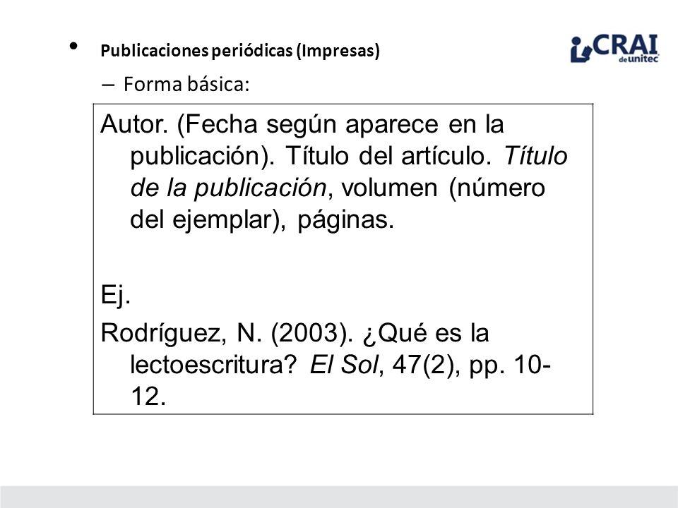 Publicaciones periódicas (Impresas)