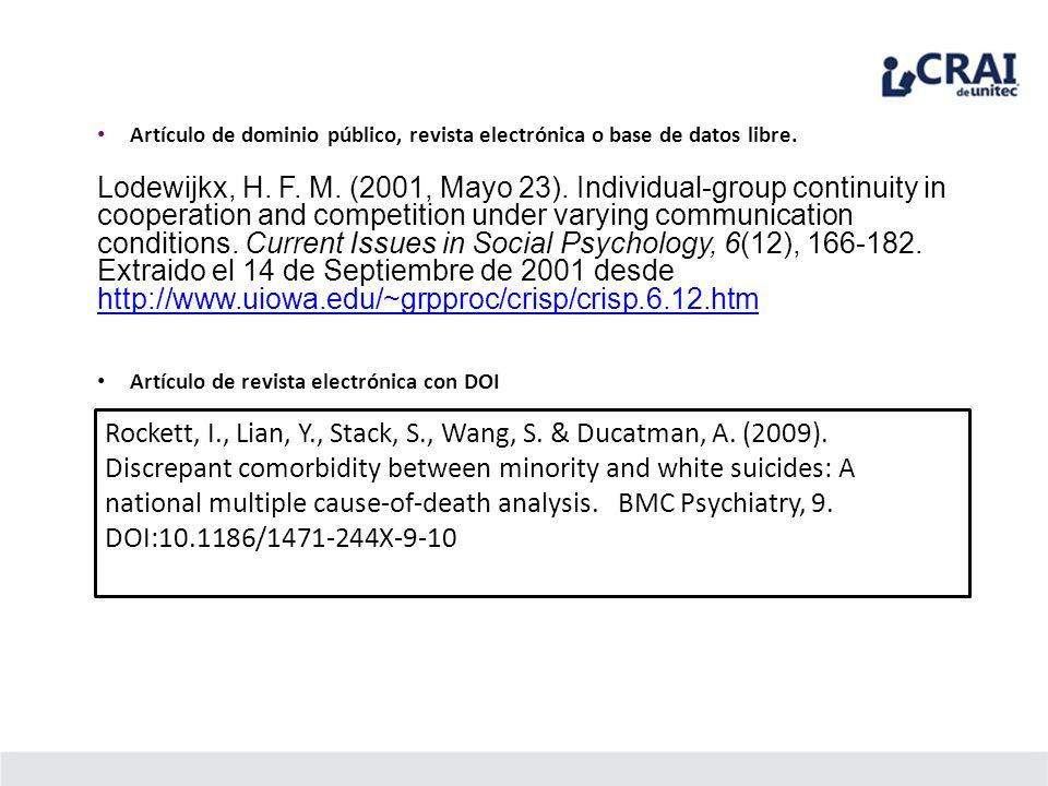 Artículo de dominio público, revista electrónica o base de datos libre.
