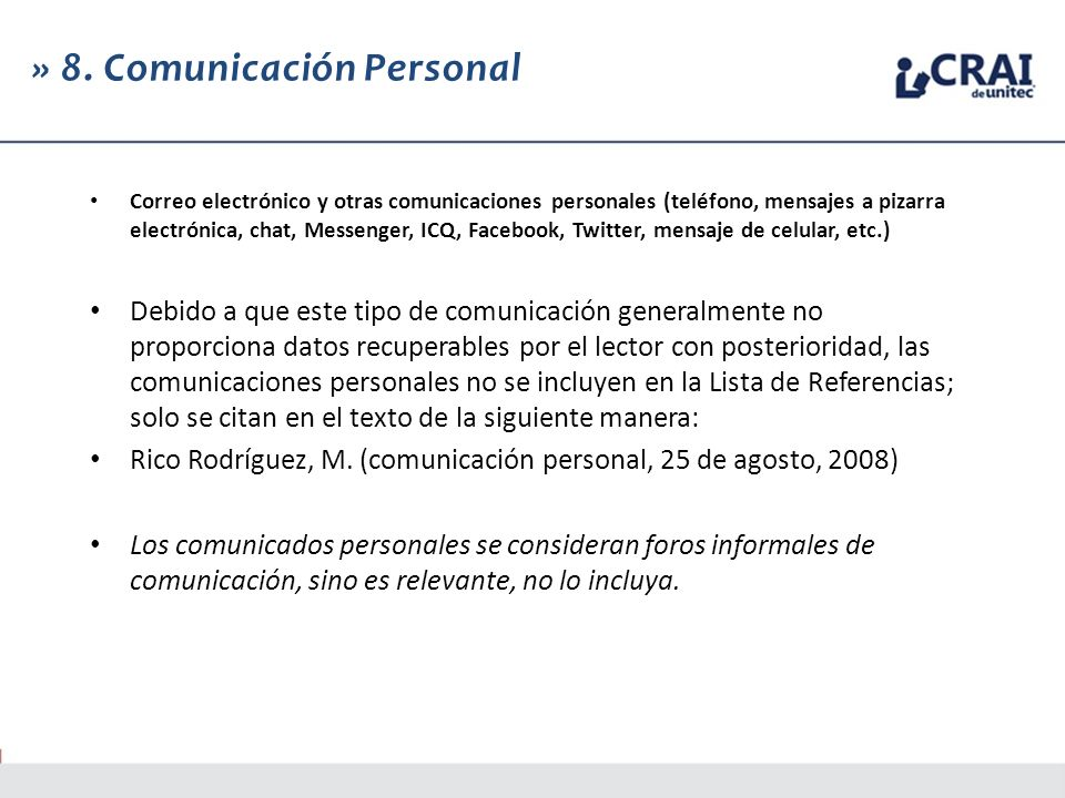 » 8. Comunicación Personal