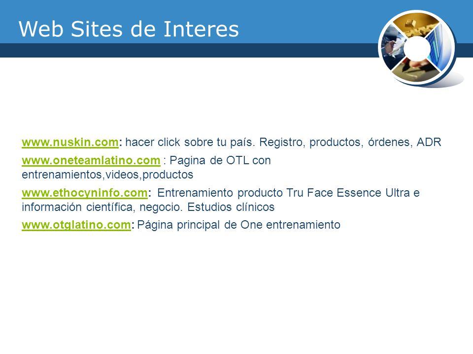 Web Sites de Interes www.nuskin.com: hacer click sobre tu país. Registro, productos, órdenes, ADR.