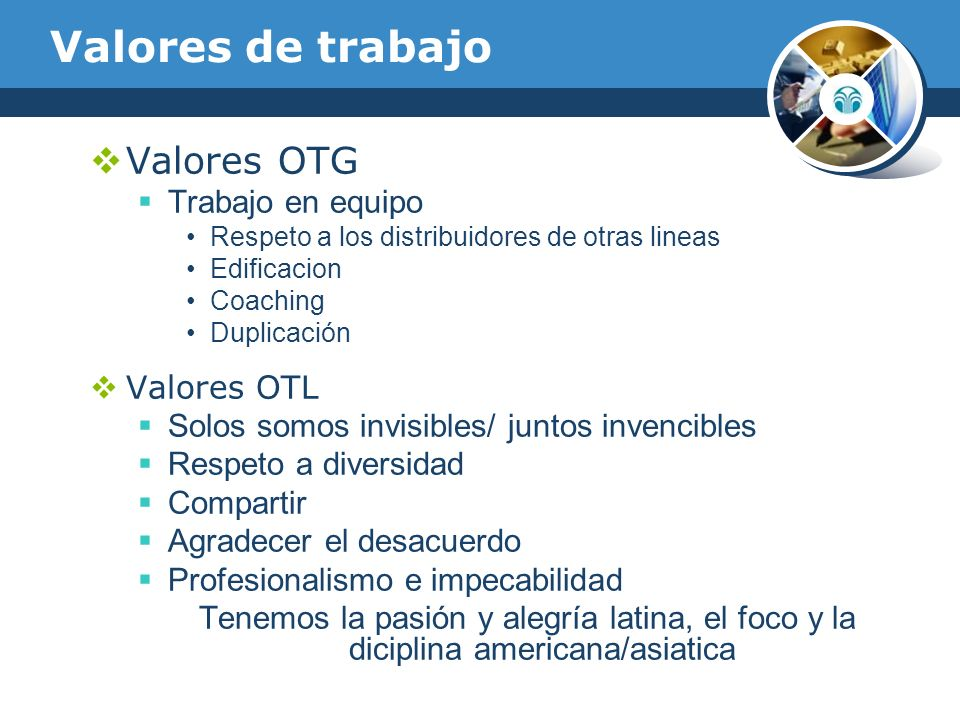 Valores de trabajo Valores OTG Trabajo en equipo Valores OTL