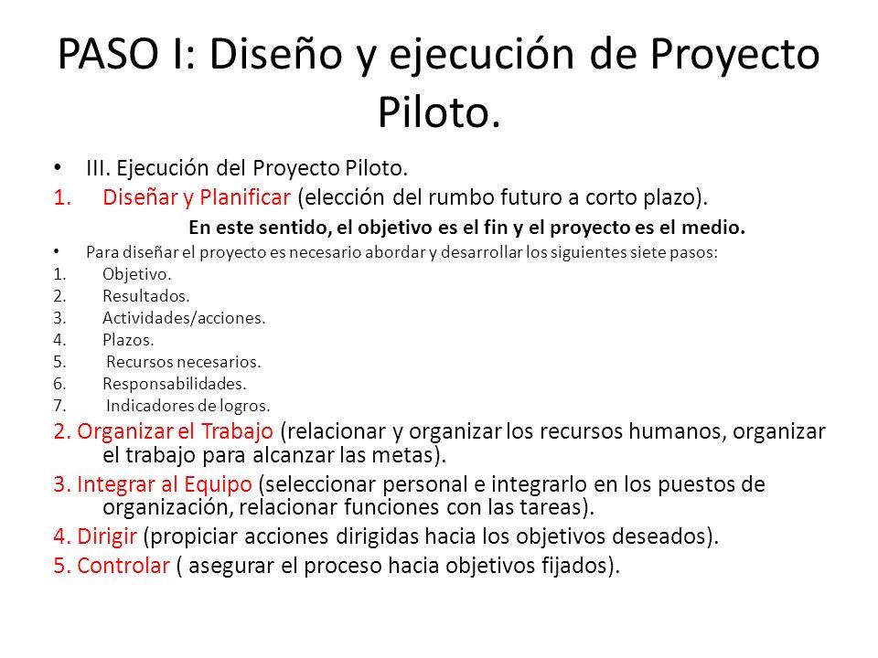 PASO I: Diseño y ejecución de Proyecto Piloto.