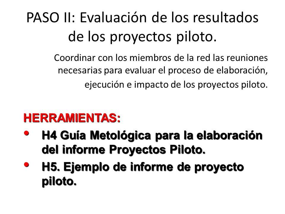 PASO II: Evaluación de los resultados de los proyectos piloto.
