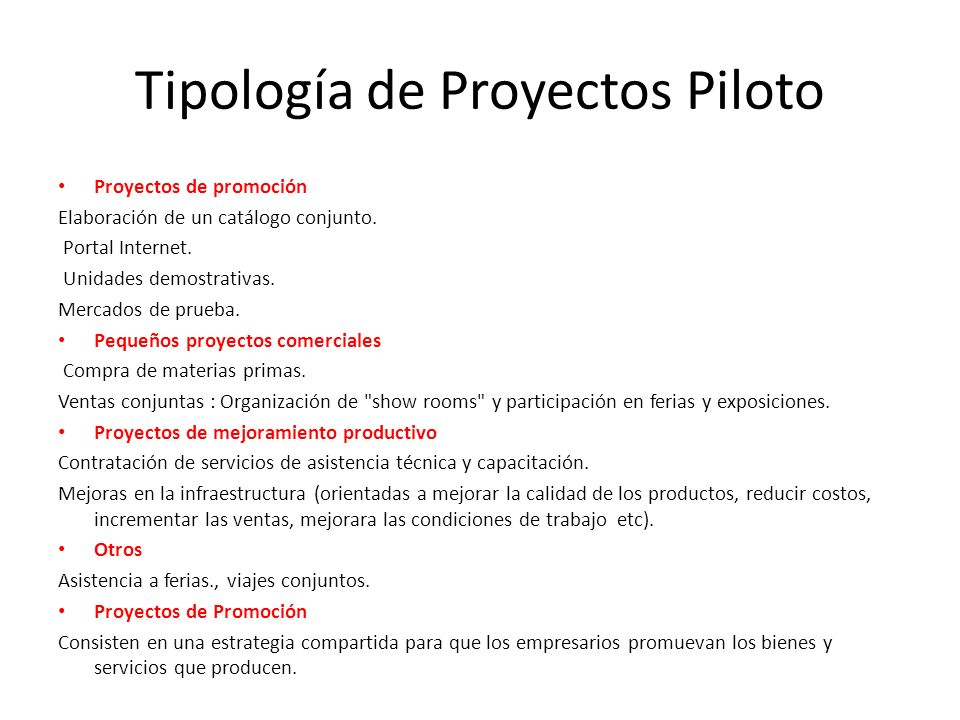 Tipología de Proyectos Piloto