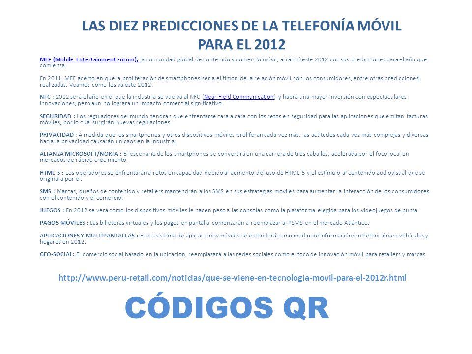 LAS DIEZ PREDICCIONES DE LA TELEFONÍA MÓVIL PARA EL 2012