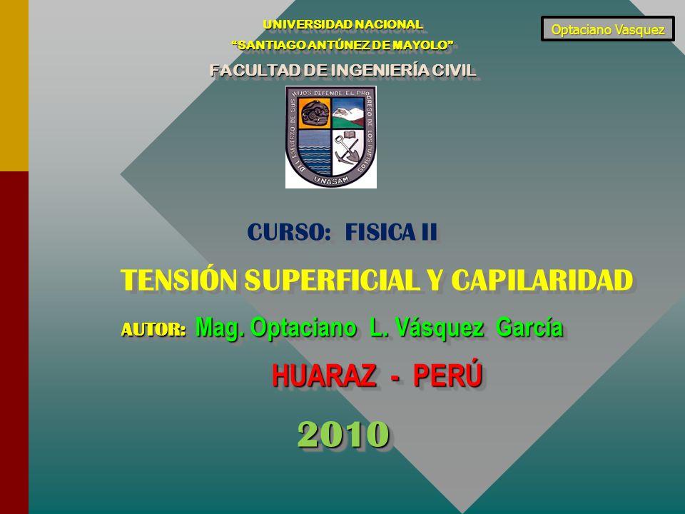 2010 HUARAZ - PERÚ CURSO: FISICA II TENSIÓN SUPERFICIAL Y CAPILARIDAD