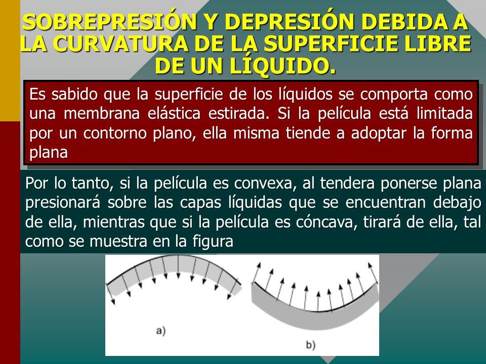 SOBREPRESIÓN Y DEPRESIÓN DEBIDA A LA CURVATURA DE LA SUPERFICIE LIBRE DE UN LÍQUIDO.