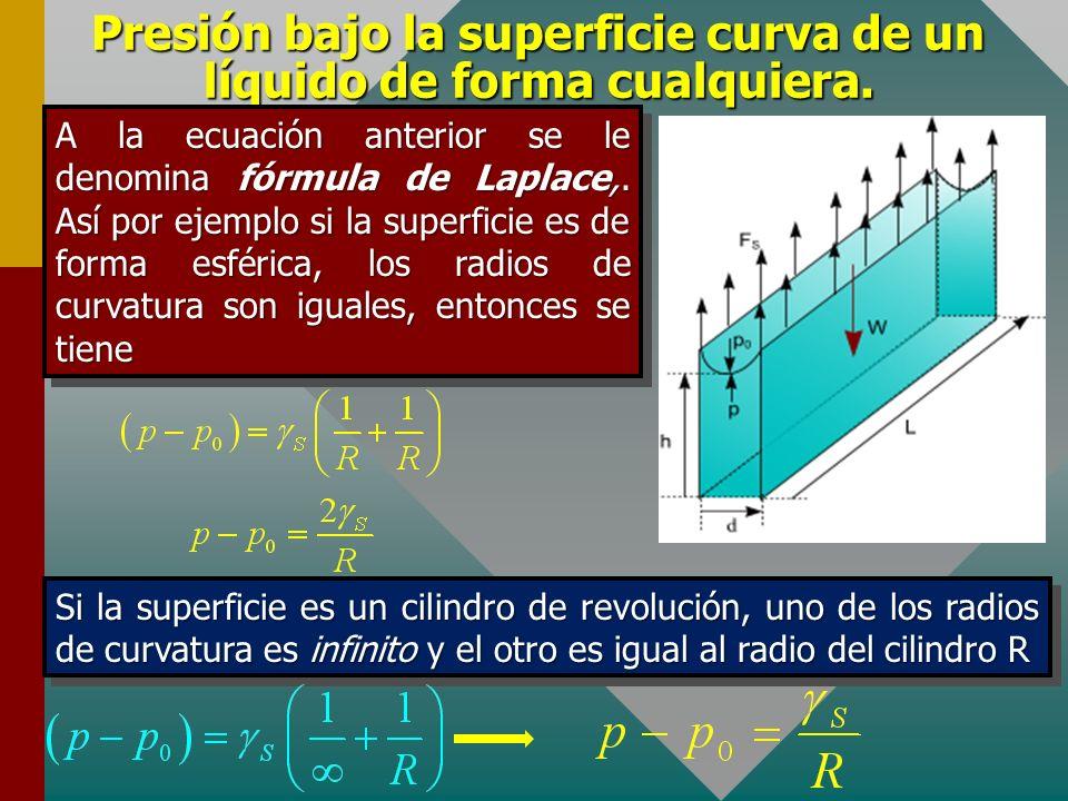 Presión bajo la superficie curva de un líquido de forma cualquiera.