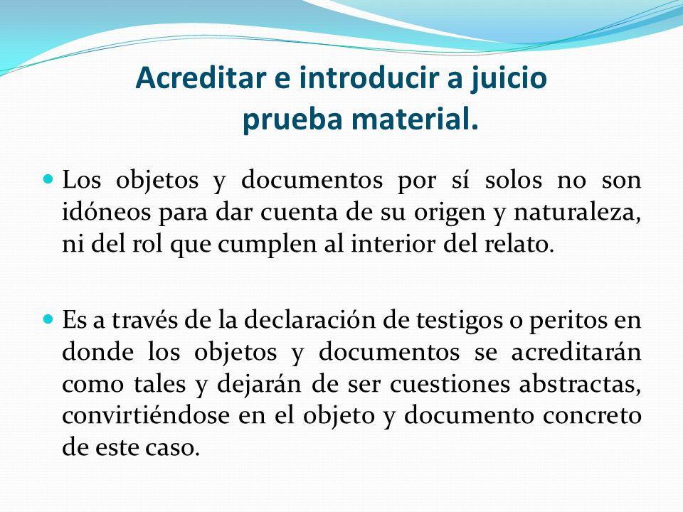 Acreditar e introducir a juicio prueba material.