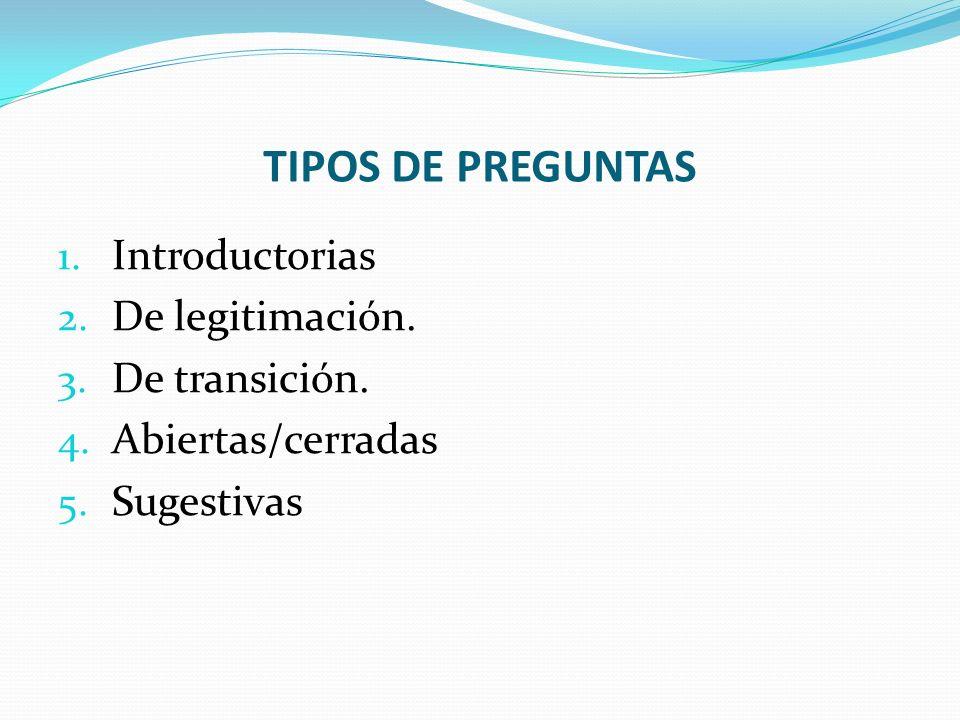 TIPOS DE PREGUNTAS Introductorias De legitimación. De transición.