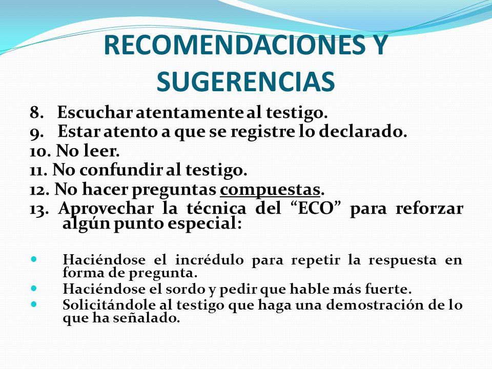 RECOMENDACIONES Y SUGERENCIAS