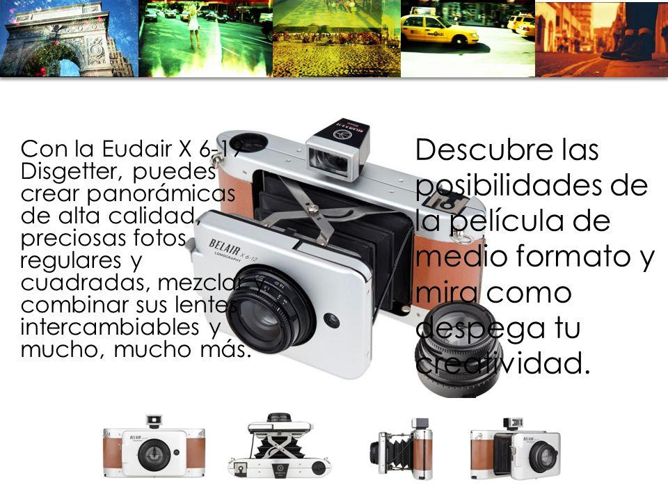 Con la Eudair X 6-19 Disgetter, puedes crear panorámicas de alta calidad, preciosas fotos regulares y cuadradas, mezclar y combinar sus lentes intercambiables y mucho, mucho más.