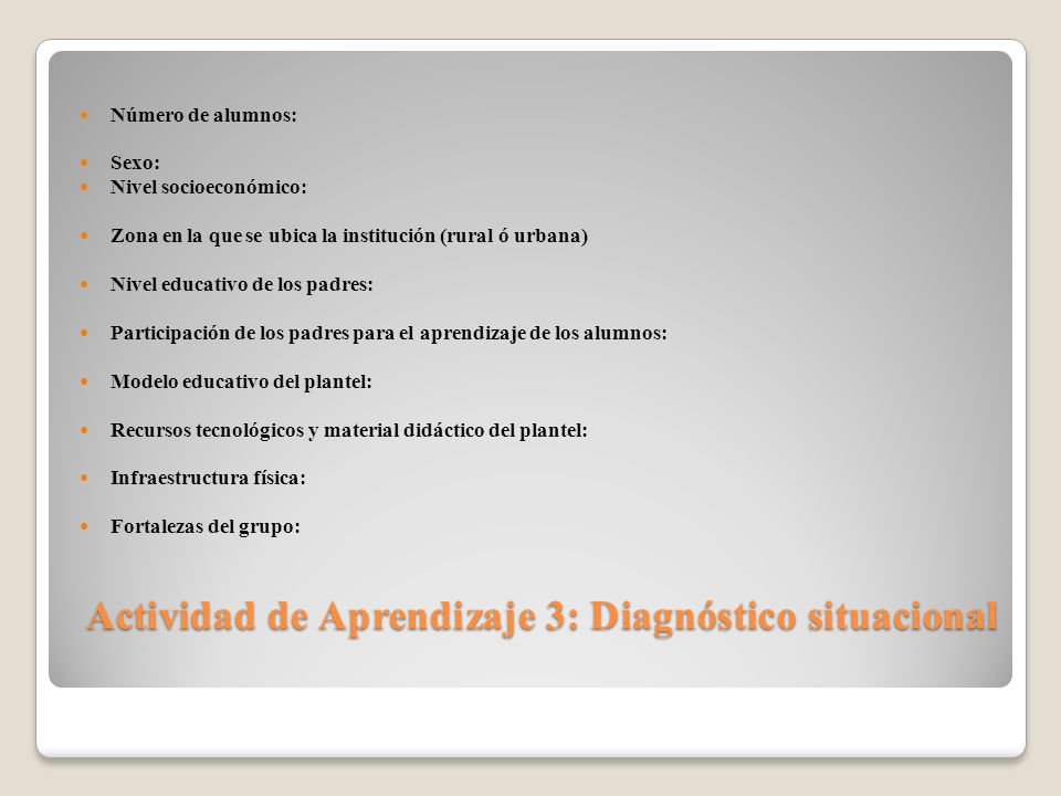 Actividad de Aprendizaje 3: Diagnóstico situacional