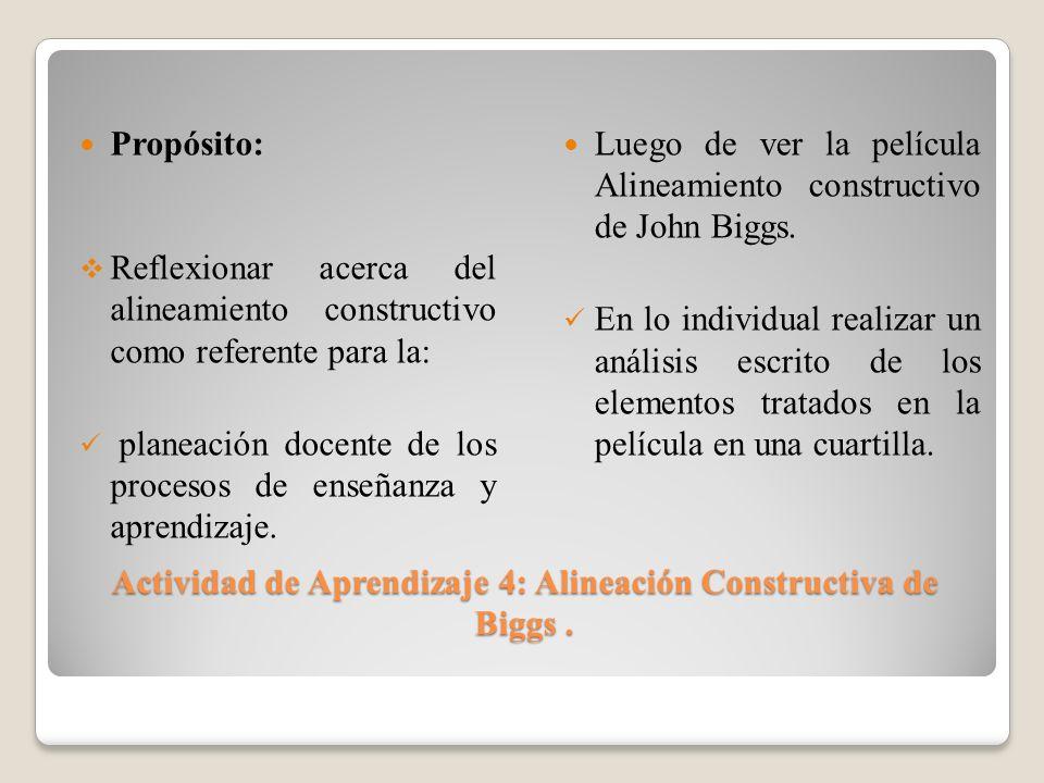 Actividad de Aprendizaje 4: Alineación Constructiva de Biggs .