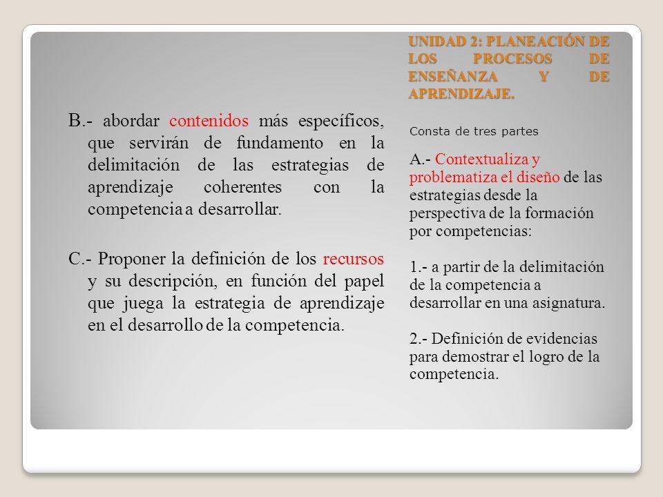 UNIDAD 2: PLANEACIÓN DE LOS PROCESOS DE ENSEÑANZA Y DE APRENDIZAJE.