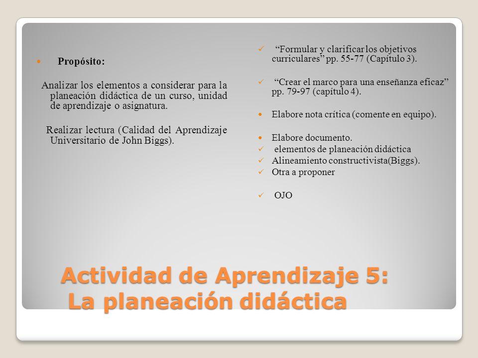 Actividad de Aprendizaje 5: La planeación didáctica