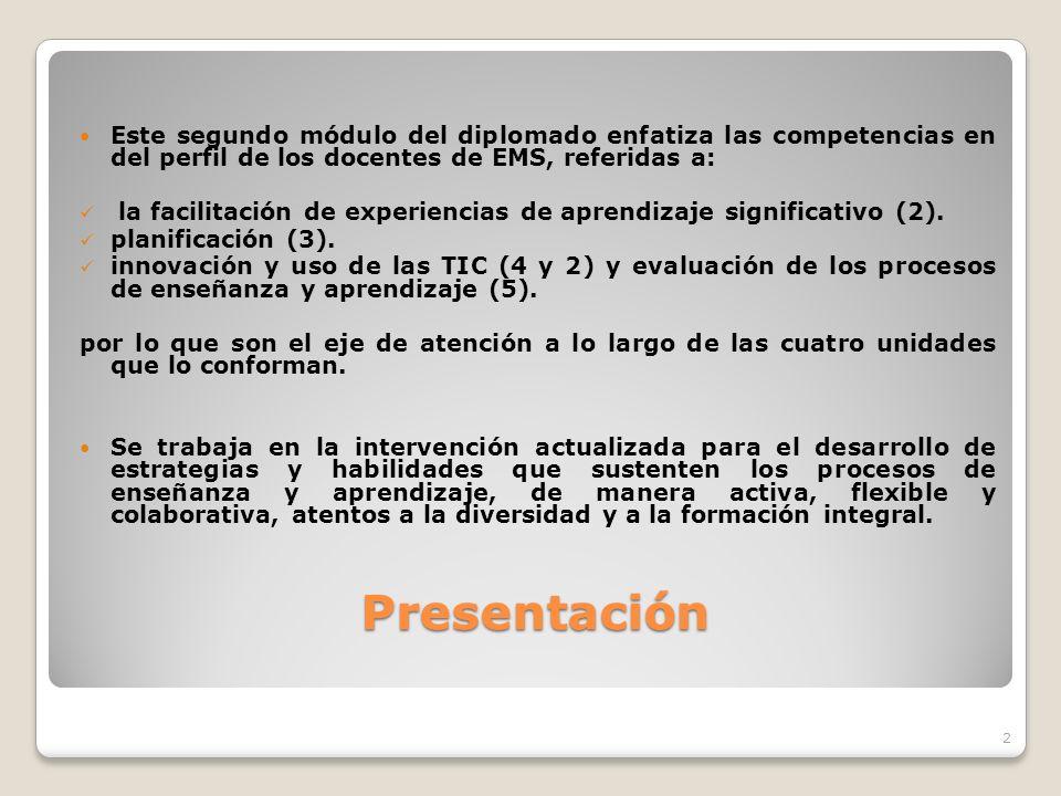 Este segundo módulo del diplomado enfatiza las competencias en del perfil de los docentes de EMS, referidas a: