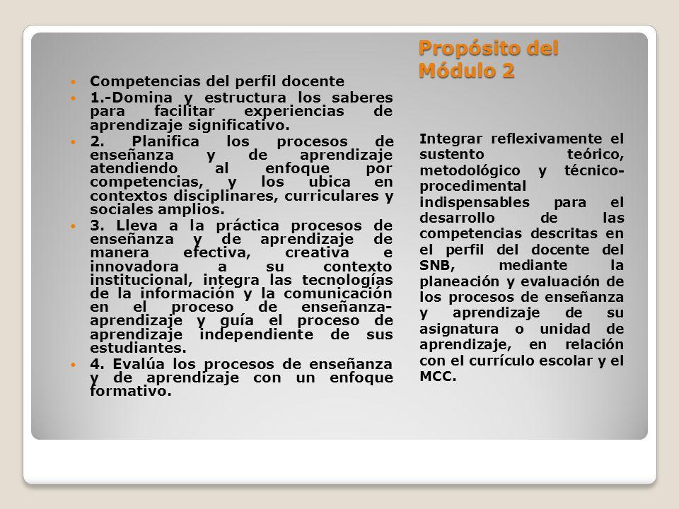 Propósito del Módulo 2 Competencias del perfil docente