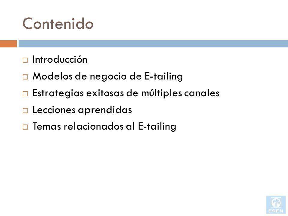 Contenido Introducción Modelos de negocio de E-tailing